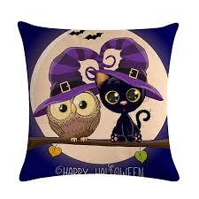 <b>Halloween Cartoon</b> Owl Printed Pillow <b>Case</b> Cotton Linen Fashion ...