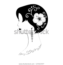 <b>Exquisite</b> short-haired female profile with black hair, <b>hibiscus flower</b> ...