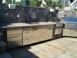 Countertop For Outdoor Kitchen Kitchen Silver Metal Cabinets With Grey Countertop With Stone
