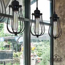 Industrail Metal <b>Pendant Light Vintage</b> Black Cage Iron Lighting ...
