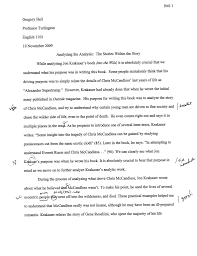 analysis essay on into the wild into the wild summary gradesaver into the wild essay thesis