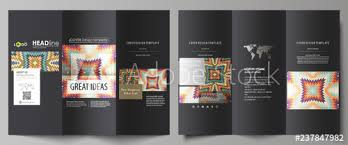 Tri-fold brochure business templates on both sides. Abstract vector ...