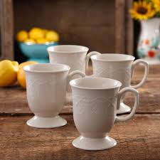 The Pioneer Woman Cowgirl <b>Lace 4</b>-<b>Piece</b> Mug Set, Linen, 13.9 fl oz