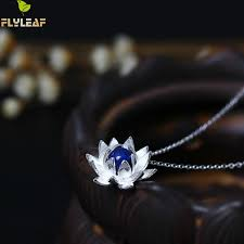 <b>Flyleaf 925 Sterling Silver</b> Lapis Lazuli Lotus Flower Necklaces ...