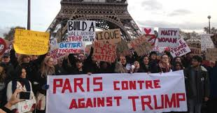 「anti trump women riots in paris with eiffel tower」の画像検索結果