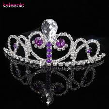 <b>Luxury Elegant</b> Purple Crystal <b>Bridal</b> Crown Girls Tiaras Hair ...