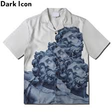 <b>Dark Icon</b> Printed <b>Vintage</b> Shirt Men 2020 Summer Turn-down ...