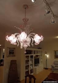 Lampadario Murano Rosa : Lampadario in vetro rosa di murano offerta illuminazione a