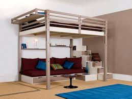Loft Bed With Sofa Bedroom Loft Bed For Teens With Stairs Be Equipped With Brown