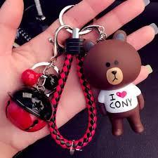<b>Cute Cartoon Little Bunny</b> Rabbit Bear Keychain Leather Rope Key ...