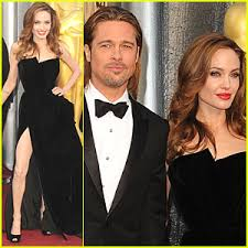 angelina jolie at oscars 2012 thigh high slit black armani atelier dress with brad pitt