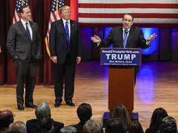 Image result for santorum huckabee at trump event pics