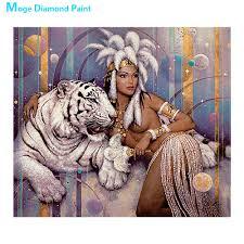 beauty beast <b>Moge Diamond</b> Painting Full Round tige animal ...