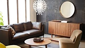 living room a living room with a dark brown two seat leather sofa with chaise apartment living room furniture