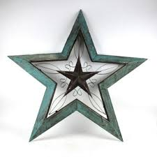 metal star wall decor: rustic turquoise wood metal quot x quot angled star wall decoration  ebay