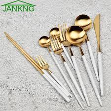 JANKNG 1 Piece <b>Stainless Steel Dinnerware Set</b> White Gold Black ...