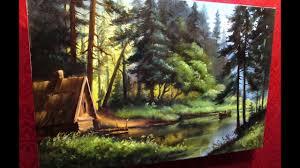 #22 Жанровый ЛЕСНОЙ <b>ПЕЙЗАЖ с озером</b>. Как нарисовать лес ...