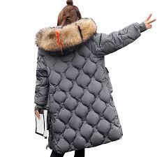 Female long <b>Coat 2018 winter jacket women</b> Fake fur collar hooded ...