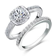 <b>2ps</b>/<b>set Princess Silver</b> Color Round Cut Crystal Bride Engagement ...