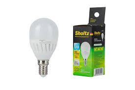 <b>Лампа светодиодная шар</b>, <b>SHOLTZ</b>, керамика 11Вт E14 4000K ...