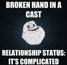 Forever Alone Guy Meme - Broken hand via Relatably.com