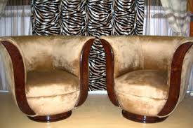fabulous2 tulip shaped art deco style chairs in walnut and golden fabric art deco furniture style art deco armchair