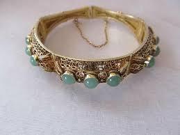 Vintage Chinese Jade Cabochons Domes Filigree Vermeil Silver ...