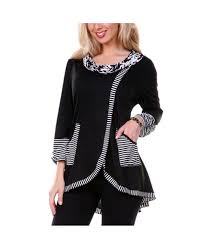 <b>Pinstriped Patchwork Pockets Design</b> Tee - Black - 2209157213 ...