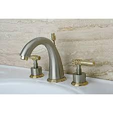 satin nickel bathroom faucets:  milano widespread satin nickel polished brass bathroom faucet p