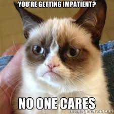 YOU'RE GETTING IMPATIENT? NO ONE CARES - Grumpy Cat | Meme Generator via Relatably.com