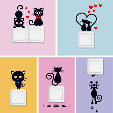 <b>DIY Creative Black cat</b> love Cartoon Removable Switch stickers PVC ...