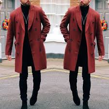 <b>Mid</b>-<b>Length Windbreaker Men's</b> Slim Large Size <b>Woolen</b> Coat ...