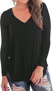 NIASHOT Women's <b>Long Sleeve</b> T-Shirt <b>Casual V</b>-<b>Neck</b> Loose Baic ...