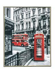 <b>Постер в рамке</b> для <b>дома</b> на стену 40х50 см / Красный автобус ...