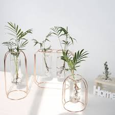 1Set Affordable Lluxury <b>Nordic</b> Style Glass <b>Iron Art</b> Vase Rose Gold ...
