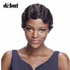 <b>Debut Human Hair Wigs</b> Brazilian Remy Hair Short Wavy Wave ...