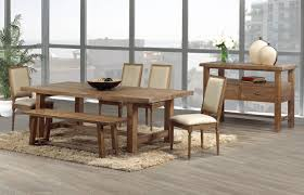 long wood dining table: modern wood dining  modern rustic wood dining set on plain shag rug of smoked wood flooring