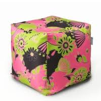 <b>Пуфик MyPuff Бескаркасный Кубик</b> Цветы Розовые