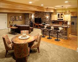 interior contemporary stoned basement kitchen accent with white lighting also decorative brown bar top and bar top lighting