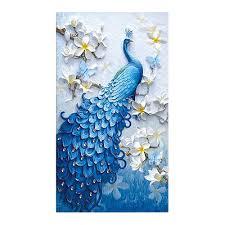 blue peacock animal <b>Moge Diamond</b> Painting Full Round vertical ...