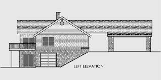 House Plans With Daylight Basement  Drive Through Portico House side elevation view for House plans   daylight basement  drive through portico