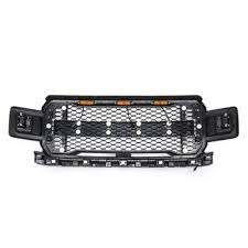 Front <b>grill grille</b> raptor <b>style</b> for ford f150 f-150 2018-2019 amber led ...