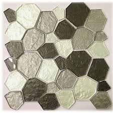 stick wall tiles quotxquot:  home decor large size  x glass peel and stick mosaic tile in white gray