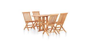 <b>5 Piece Folding</b> Outdoor Dining Set Solid Teak Wood - Matt Blatt