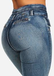 Mid Wash 3 Button Butt <b>Lifting</b> High Waisted <b>Straight</b> Leg <b>Jeans</b> ...