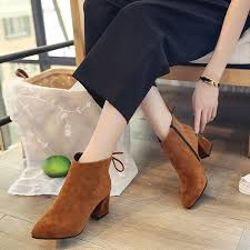 Autumn Winter Fashion <b>Shoes</b> Woman <b>Flock Suede Leather</b> Boots ...