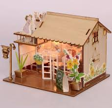 baby room home decoration doll house model furniture diy 3d puzzle kit wooden paper toy cute brand baby wooden doll house