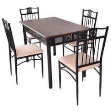 goplus 5 piece dining set wood metal table and 4 chairs kitchen breakfast furniture new breakfast furniture