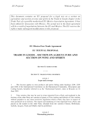 EU Proposal - EU-MEX - Annex <b>Wine</b> and Spirits
