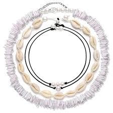 4 Pcs Shell Choker Necklace Chips 14 16 18 Inch ... - Amazon.com
